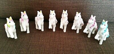 8 x Unicorn Toy/Ornament/Cake Toppers - New