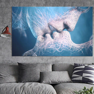 Kissing Lovers Art Painting Wall Mural Print Picture Room Office Decor Unframed