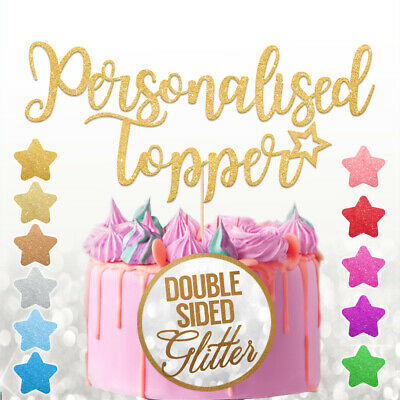 Personalised Glitter Happy Birthday Cake Topper Custom Any Name Party Decoration