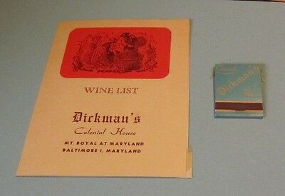 1956 Dickman's Colonial House Restaurant Wine List and Matchbook Baltimore MD