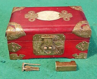 Antique Chinese Redwood Jewellery Box, Ornate Hammered Brass, Jade Inlaid Disk