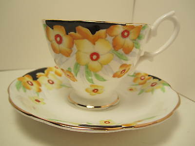 Royal Albert Crown China Cup & Saucer  White With Yellow Flowers Black Accent!!!