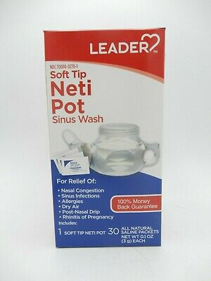 3PK LEADER Neti Pot Soft Tip with Sinus Wash Packets 30ct 096295131734YN