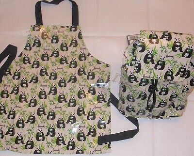 Harrods Panda Children's apron & matching backpack rucksack ( New + Tags ) BNWT