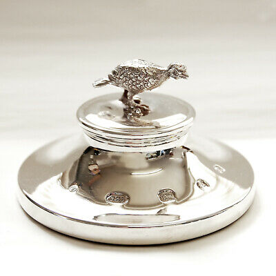 Hallmarked Solid Silver Paperweight With Model Of A Grouse