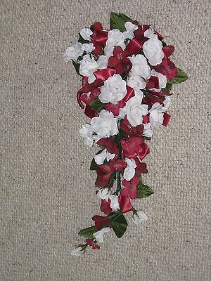 Bride's Wedding Bouquet Burgundy & White Silk Flowers Vgc Used Once