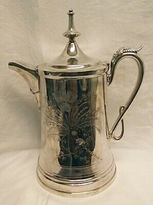 1872 Meriden Company Silverplate Large Porcelain Lined Water Pitcher Etched Face