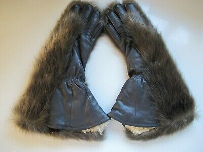 Vintage Real Fur and Leather Gloves sheepskin lined Womens Medium New