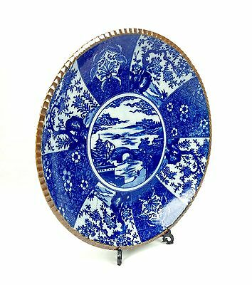 Antique Chinese Charger Plate / Blue And White Chinaware Large