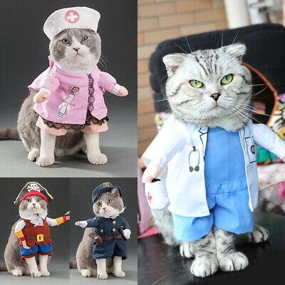 Pet Small Dog Cat Funny Outfit Jumpsuit Clothes Halloween Christmas Costume