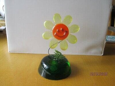 Vintage Lucite Acrylic Flower Smiley Face Sculpture Mid Century MOD Resin 60's