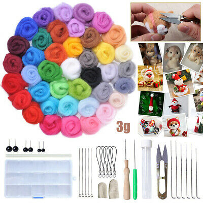 40 Colours Wool Felt Needles Tool Set + Needle Felting Mat Starter DIY Kit AU