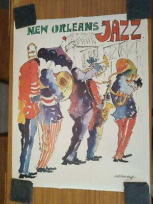 Vintage 1977 New Orleans Jazz Festival Poster Print A3//A4