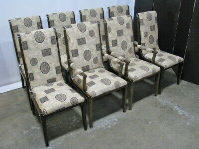 Set of 8 Neoclassic Mastercraft 1970s Amboyna Dining Chairs, Unique Curved Backs