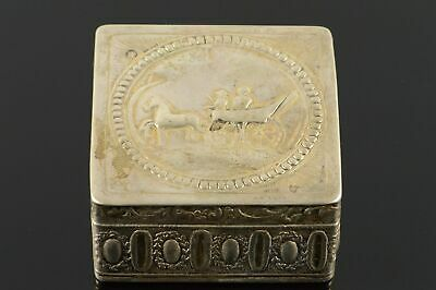 Sterling Silver Ornate Dutch Export Horse-Drawn Carriage Box