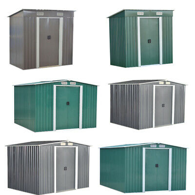 New Garden Shed Metal Apex Roof Flat Top Outdoor Storage With Free Foundation