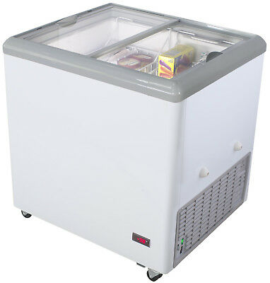 """Chef's Exclusive 31"""" Commercial Ice Cream Glass Display Chest Freezer Case"""