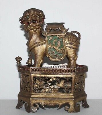 Early Chinese Gilt Silver Or Metal Foo Dog Of Wealth