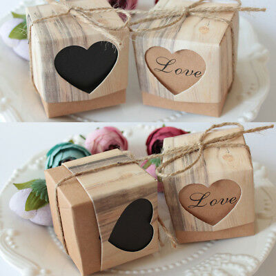10~100pcs Kraft Paper Chocolate Candy Gift Boxes Wedding Party Baby Shower Favor