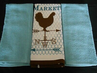 Set of 3 Kitchen/Dish/Hand/Tea Towels 2 Solid Turquoise 1 White w/Rooster - NWOT