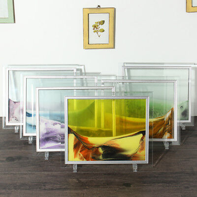6 Colors Framed Moving Sand Time Glass Picture Home Office Desk Decor