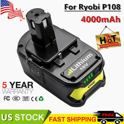 4.0Ah 18VOLT Lithium-Ion Battery for RYOBI P108 P107 P102 ONE PLUS High Capacity