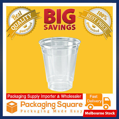 Disposable Plastic Cups Clear Reusable Juice Water Cup Flat Lid 14 to 24oz Bulk