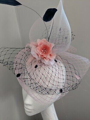 Navy And Dusty Pink Crinoline Fascinator On Clip, weddings and races