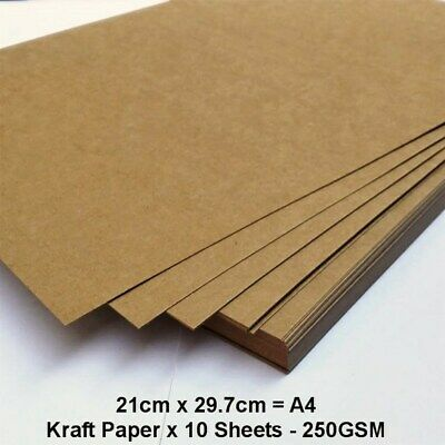 New! PREMIUM Blank Kraft Paper 10 Sheets A4 250GSM Cards Invitations Card Making