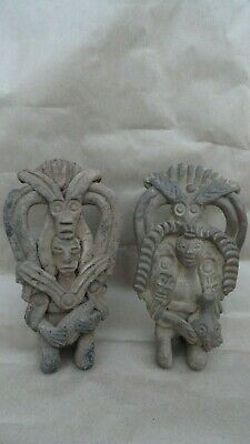 2 pre columbian style figurines maya? pottery age?? hand made old mexican
