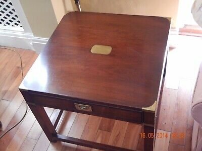 Pair Of Mahogany Campaign Side Lamp End Tables