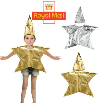 Kids Christmas Nativity Xmas Gold Star Costume Boys Girls Fancy Dress Outfit UK