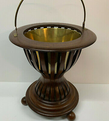 Mahogany Jardiniere Antique Planter, Wooden Plant stand Empire Style with liner