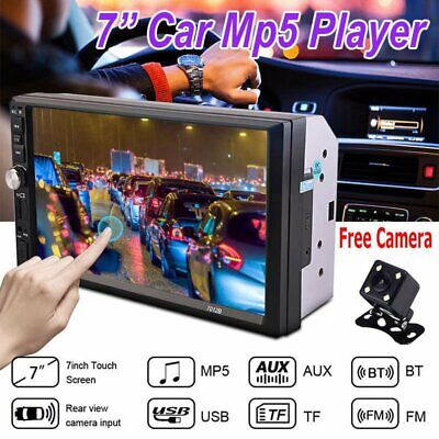 7 Inch 2 DIN Car Stereo MP5 Player Touch Screen Bluetooth Radio + HD Rear Camera