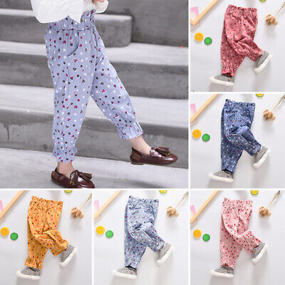 Kids Baby Girls  Casual Pants Printed Elastic Waist Lantern Cute Winter Trousers