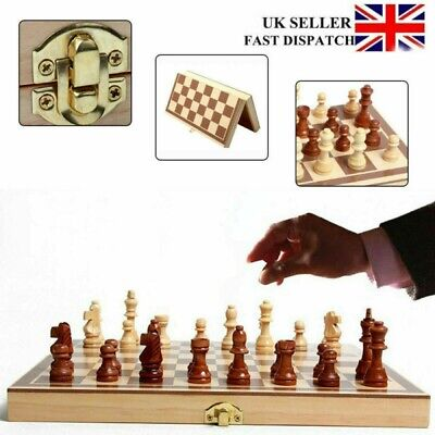 Folding Wooden Standard Chess Set with Chessboard Game Checker Backgammon Toy UK