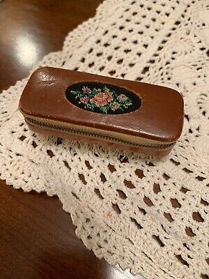 Vintage Sewing Kit with Lint Brush Zippered Top With Embroidered Flowers