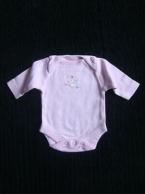 Baby clothes GIRL premature/tiny 5lbs/2.3kg pink long sleeve bodysuit white cat