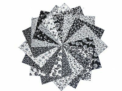 50 4 INCH Quilting Fabric Sqs/Black/Whites Charm pack!!!! BUY IT NOW-4""