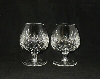 Astral Crystal Questa Pattern Cut Glass Brandy Glasses Snifters ~ Pair