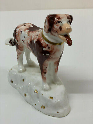 Antique Red Setter Staffordshire  Porcelain  Dog Standing  Samuel Alcock 19th c