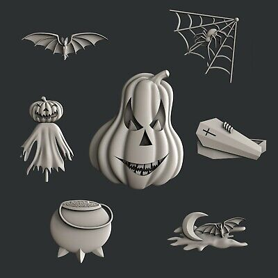 3d STL models for CNC, Artcam, Aspire, set Halloween