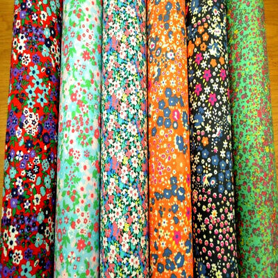 Printed Stretch Cotton Fabric Floral Pattern mix coloured Spandex Material Dress