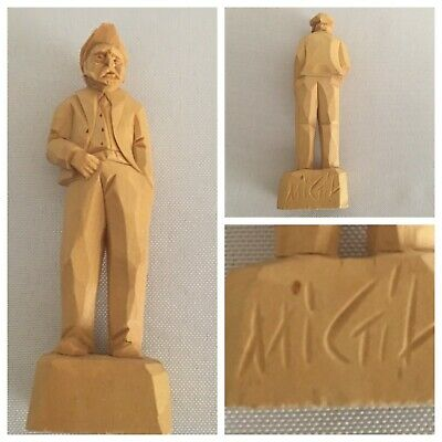 "Old Man Wood CARVING Signed by Artist MIGIL Small 4"" x 1""  Quebec Canada"