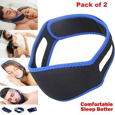 2 x Snore Anti Snoring Strap Stop Chin Belt Sleep Apnea Jaw Solution Support Aid