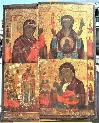 SUPERB ANTIQUE LARGE RUSSIAN ICON 4 MOTHERS OF GOD 19th C. 45 X 36 cm/17.7X14.2""