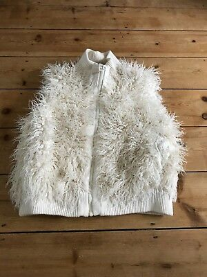 Girls11-12 NEXT Gilet Ivory Cream Faux Mongolian Fur Gilet