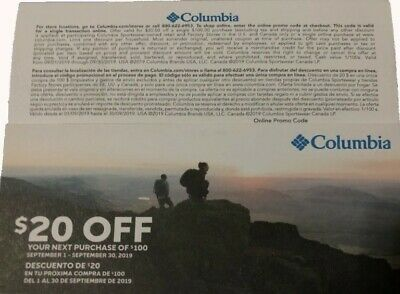 Columbia Sportswear $20 off $100 Coupon Valid 9/1/19 - 9/30/19 Online or InStore