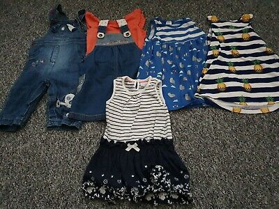Girls 9-12 Months Bundle, Dungarees/ Dresses lovely condition *Combined Postage*