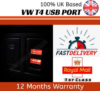 Vw Transporter T4 In Dash Dashboard Panel Dual USB Port Charger 12V RED LED